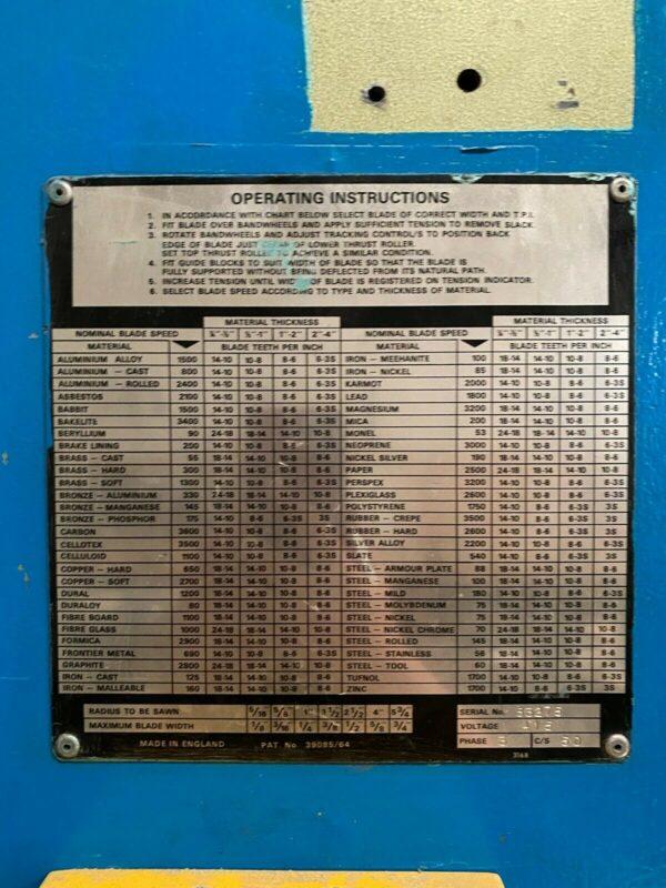 Startrite 216 Vertical Bandsaw